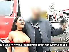Amazing brunette pornstar outside at a fire station