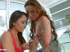 Aida Sweet licks and kisses Julie Skyhigh on Sapphic Erotica in lesbian sex scene