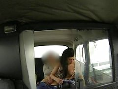 Hot brunette tattoo model fucks huge dick in taxi