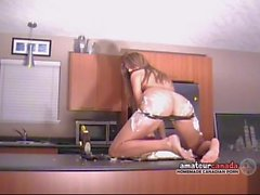 Messy crushed cake whipped cream naked striptease by bikini
