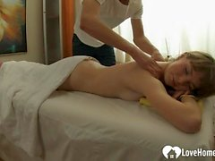 Sexy teen girl massaged and fucked hard