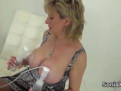 Unfaithful english milf lady sonia showcases her giant breas