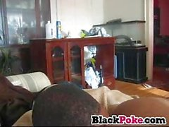Black babe gets her pussy eaten and fucked