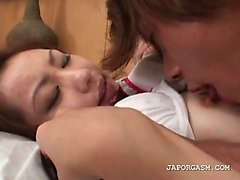Asian horny schoolgirl gets cunt finger teased in bed