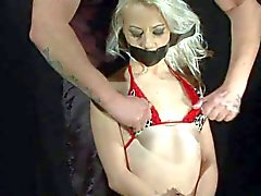 Wax play with small titty slave blonde Chocky White