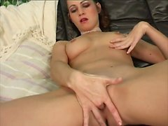 Enchanting brunette with a marvelous ass Lucy has fun with a sex toy