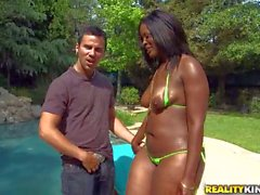 Black bikini girl with juicy Ass loves white dick