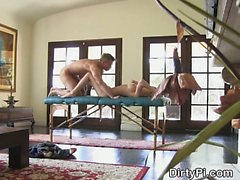 Cheating Blonde Drilled On Massage Table In Her Living Room
