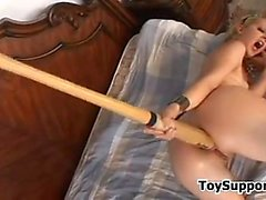 Blonde Slut With A Dildo And A Baseball Bat