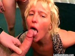 Hot blonde milf and her friend gang banged