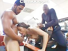 Busty Ayana Angel taking two dicks