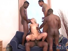 Kinky interracial gangbang with a slutty blonde