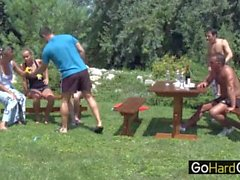 Three Couple Outdoor Garden Fuck Party