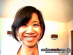 Schoolgirl Yumi asian teen groped in skirt by white man