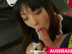 Asian maid takes a mouth of cum after bouncing on aussie boys cock