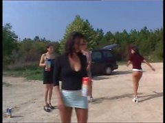 4 sexy girls piss contest outdoors