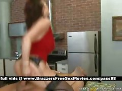 Mature redhead chick on the kitchen table gets a blowjob a titsjob