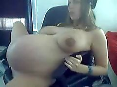 young 9 months pregnant in black undies teasing on cam at