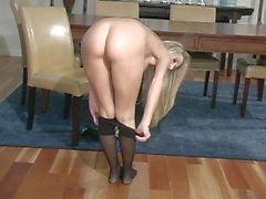 Blond pantyhose jerk off instructions