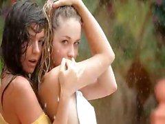 Beautiful teens in the rain