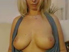 Hot blonde with perfect tits fucks her pussy