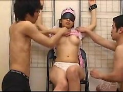 Blindfolded Oriental maid with perky boobs is made to cum b