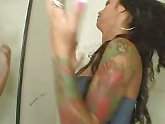 Angelina Valentine gives a sensational sucking at a toilet gloryhole