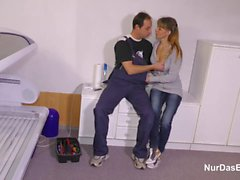 German MILF Steffi Fuck the Repairman when Dad is away