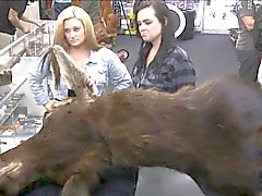Two hot ass lesbian chicks selling their stuff and fucked