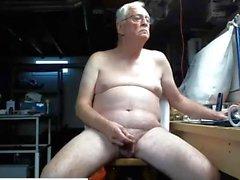 Grandpa Nudist Wanking His Uncut Cock