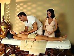 Teen gets masseurs cum