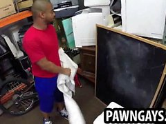 Ebony hunk sucks cock at the pawn shop for cash