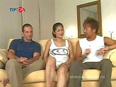Huge tits Thai porn star NAT sucks 2 dicks and gets fucked in 2 scenes