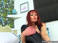 English milf Tanya Cox gets naughty with a dildo