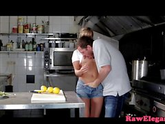 Deepthroating eurobabe assfucked in kitchen