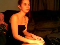 Cute redhead teen getting nude