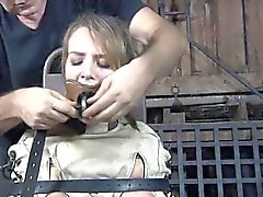 Nude tied up beauty is sucking hard toy vibrator hungrily