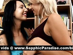 Cute brunette and blonde lesbians kissing and licking nipples and having lesbian love