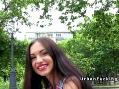Beautiful lips Russian bangs in public