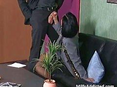 Slutty brunette MILF secretary gets wet pussy fucked