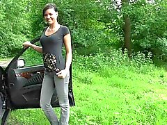 Sweet German girl has car sex in nature ended wih facial