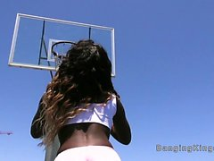 After basketball ebony fucks big cock