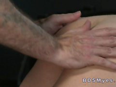 Tied up busty sub gags big cock of master
