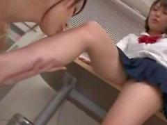 Asian Schoolgirl Seduces Lesbian Science Teacher with Feet