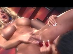 Two sexy honeys finger fuck each other and play with dildos
