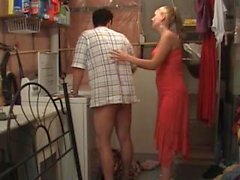 She forces him to jerk off on her legs. He takes way too long.