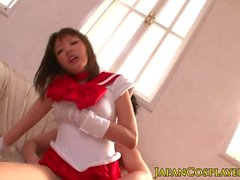 Japanese cosplay babe in stockings fucked