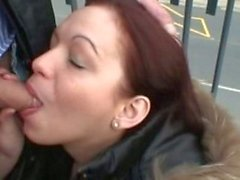 Fucking hot red-head in public