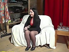 Raven girl at her first erotic casting