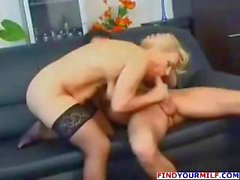 Mature blonde Russian mature eats his cock and gets drilled